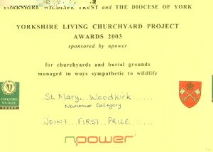 Certificate awarded to the church in 2003 for Churchyard Conservation