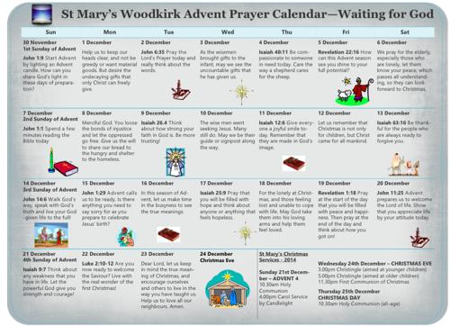 Advent Prayer Calendar 2014